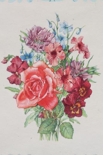 Vintage Framed Floral Prints Shabby Cottage Style Flower