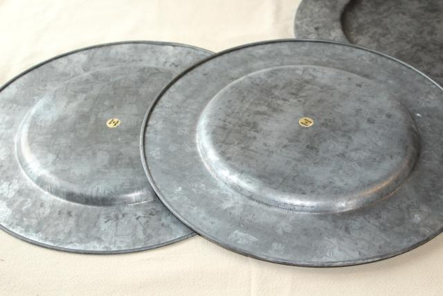 Vintage Galvanized Zinc Metal Charger Plates Rustic Country Farmhouse Table Ware