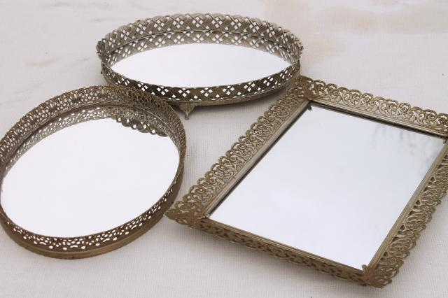 Vintage Gold Lace Filigree Vanity Tray Mirrors, Mirrored