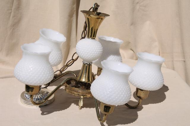 Vintage Hobnail Milk Glass Shades Chandelier Shabby Cottage Chic Farmhouse Hanging Light
