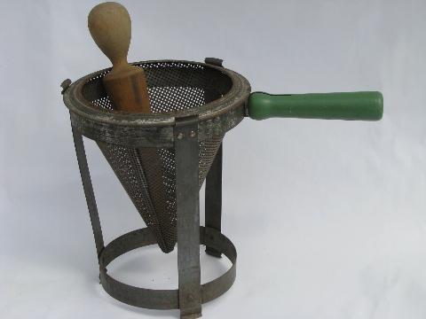 Vintage Kitchen Food Mill Tripod Stand Strainer Sieve