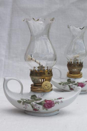 Vintage Moss Rose China Oil Lamps Pair Of Miniature Fairy Light Boudoir Lamps