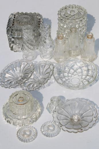 Vintage Pressed Glass Lamp Bases Parts Lot Bobeches For Crystal Chandeliers Hanging Lights