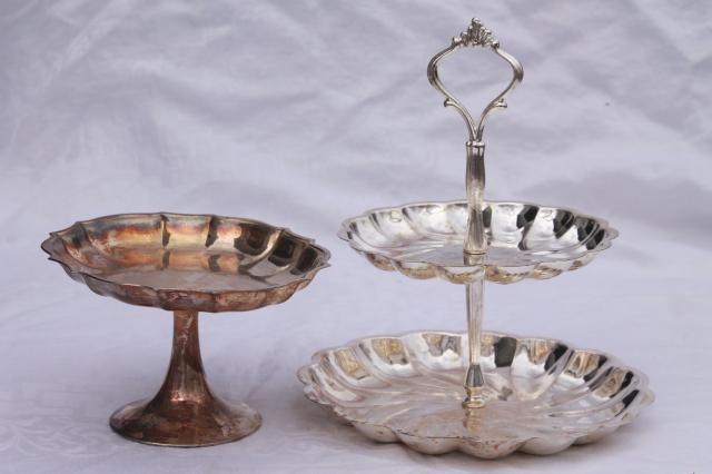 Vintage Silver Plate Serving Pieces Candy Dish Amp Two Tiered Plate Dessert Tray