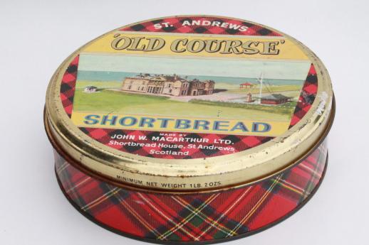 vintage tartan ware Scottish shortbread tin w/ St. Andrews ...