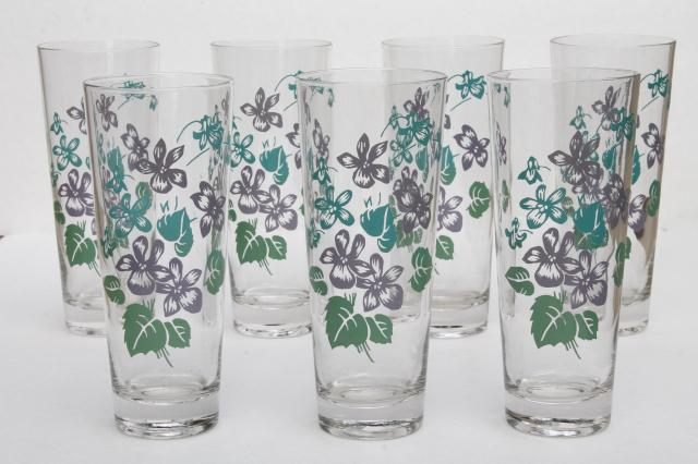 Vintage Violet Print Drinking Glasses Tall Tumblers