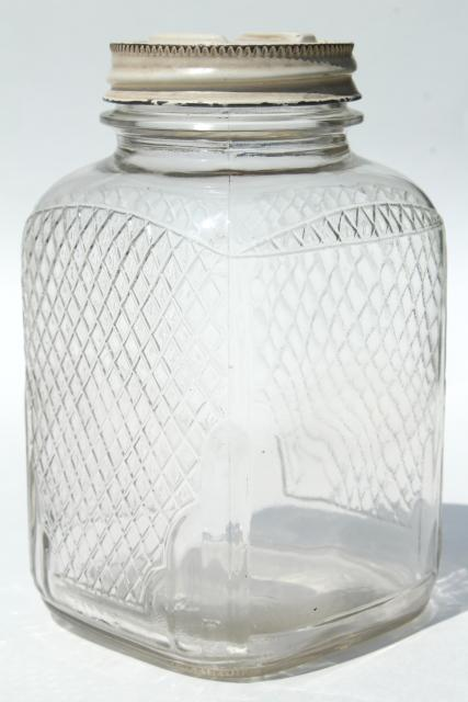Vintage Waffle Glass Hoosier Jars Old Square Glass Canisters Antique Coffee Tea Jars