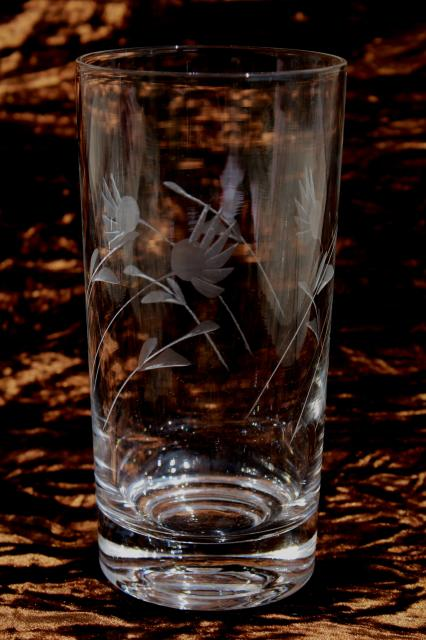 Vintage Wheel Cut Glass Tumblers Crystal Clear Drinking