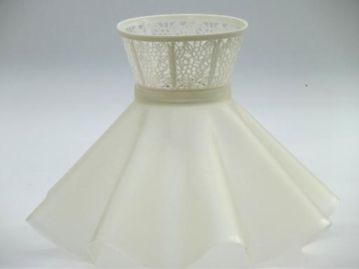 Vintage Clip On Lampshade Retro Ruffled Plastic Lace