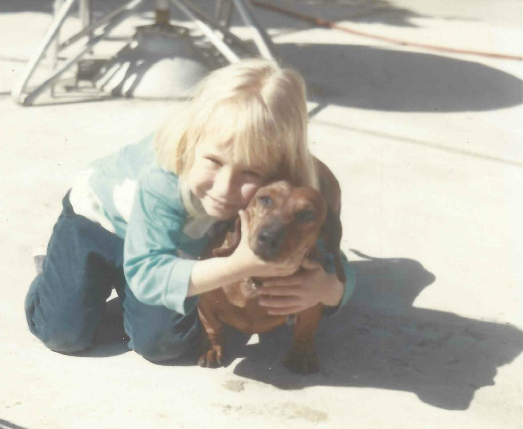 With Hans, my first Dachshund ~ born 6 months before I was