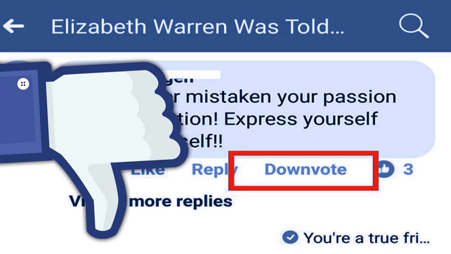 downvote dislike facebook button