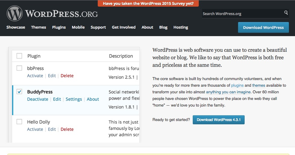 A screenshot of the main WordPress website