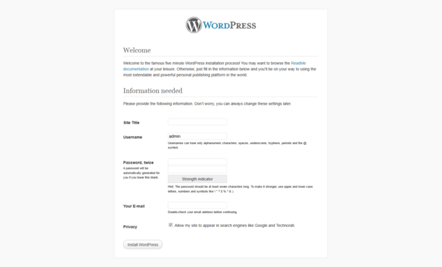 WordPress Installation photo of Step 5