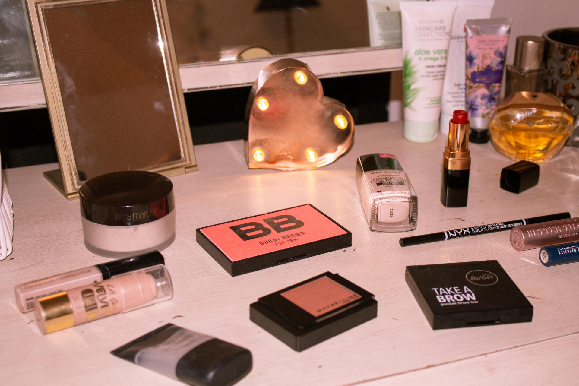 make-up products on dressing table