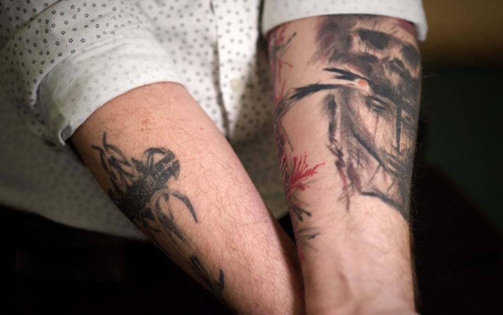 The tattoos of Adrian Woodbridge