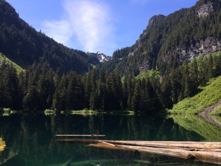 Lovely Green Lake. That's Tolmie Peak peeking through between Arthur and Gove peaks.