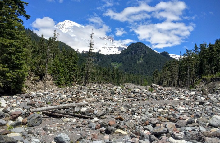 The Nisqually riverbed is <em>not</em> the trail, but it took me a while to figure that out.