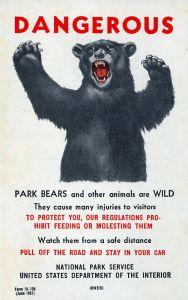 vintage Park Service bear warning poster