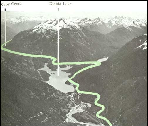 The route of the proposed North Cascades Highway with Ruby Mountain above Diablo Lake.