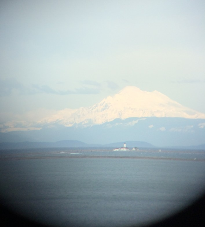 Mount Baker and lighthouse from Dungeness Spit overlook
