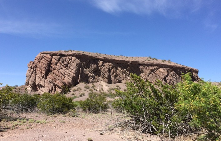 Near the entrance to San Lorenzo Canyon, evidence of rift is seen in a tilted sandstone mesa