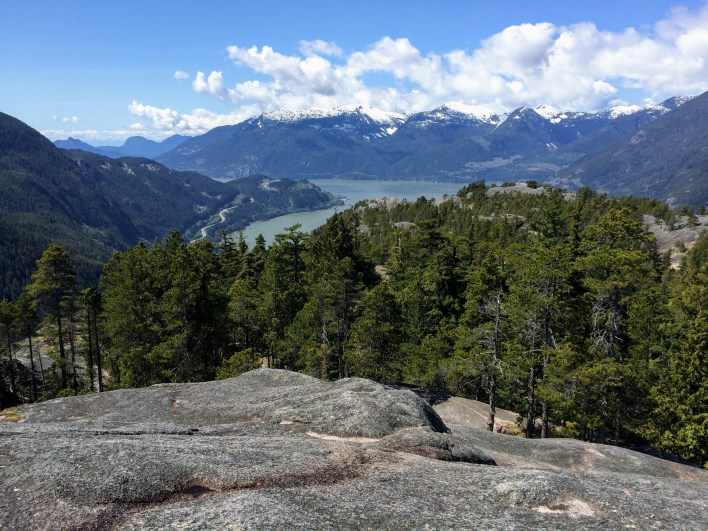 Looking southward down Howe Sound and the Sea-to-Sky Highway from the summit of third peak.