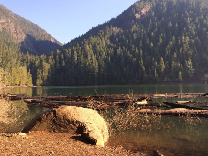 View from a sunny snack spot on Lena Lake.