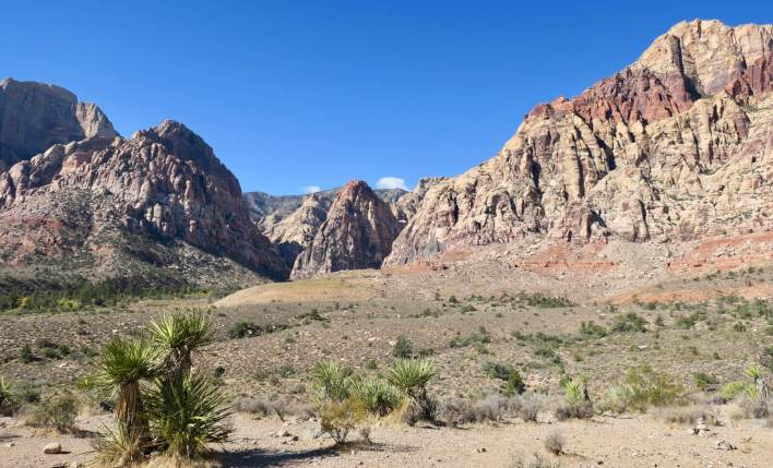 The mouth of Pine Creek Canyon from the scenic drive in Red Rock Canyon National Conservation Area.
