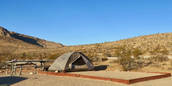 Camping in Rock Rock Canyon National Conservation Area under a clear desert sky. (Lauren Danner photo)