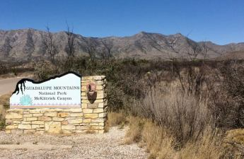 Guadalupe Mountains National Park entrance sign at McKittrick Canyon. (Mr. Adventure photo)