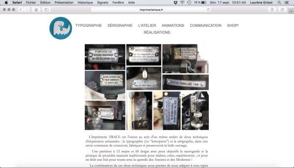 Capture d'écran du site internet de l'Imprimerie Trace