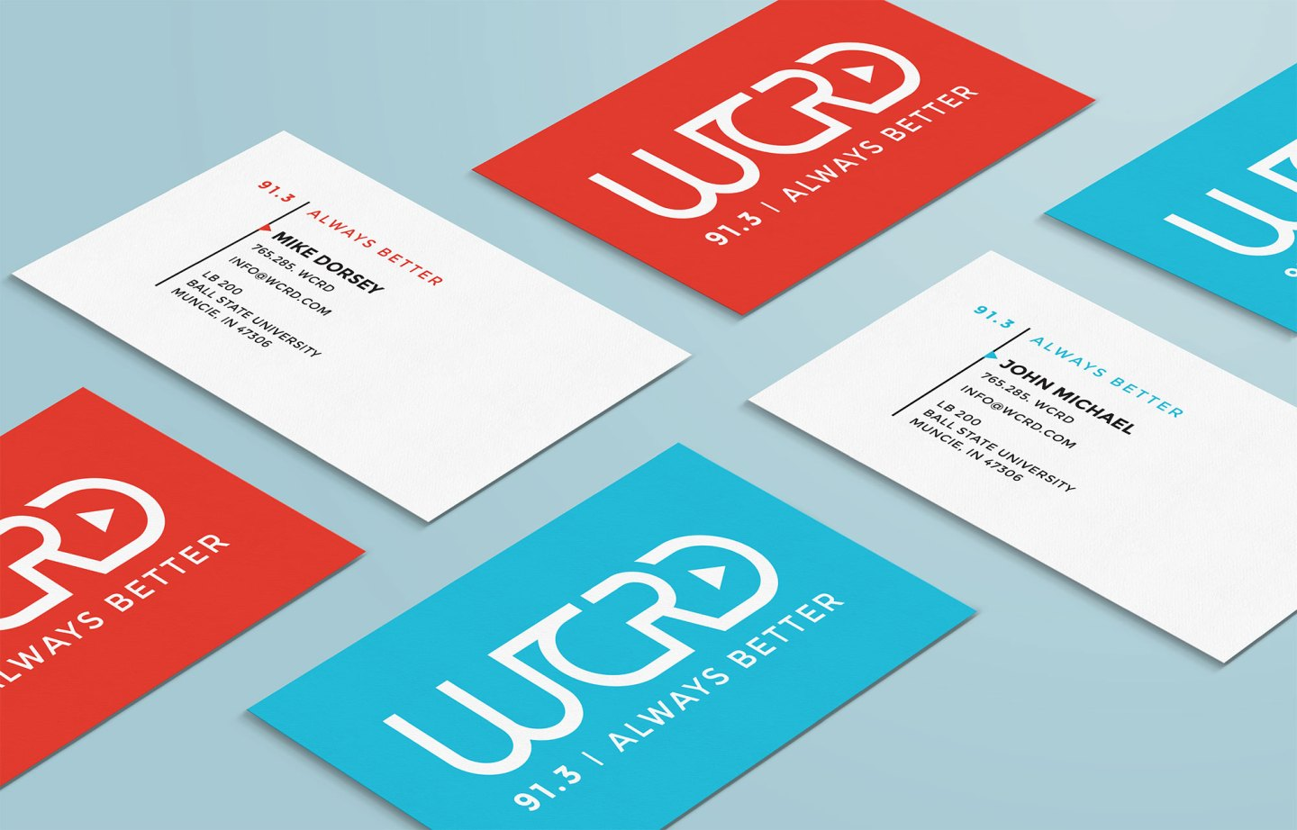 The WCRD primary logo lockup and business card design