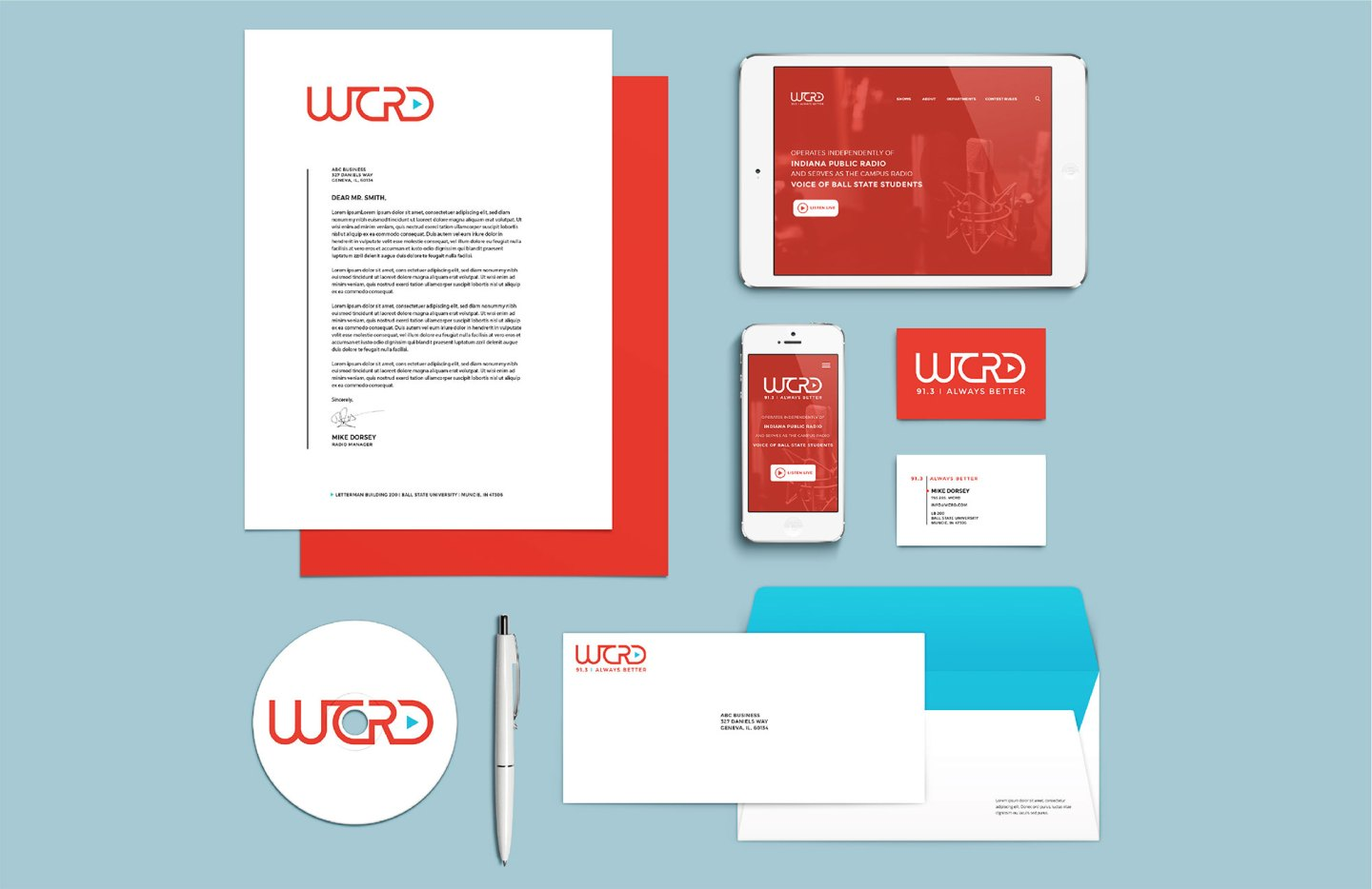 The WCRD identity system stationery collateral