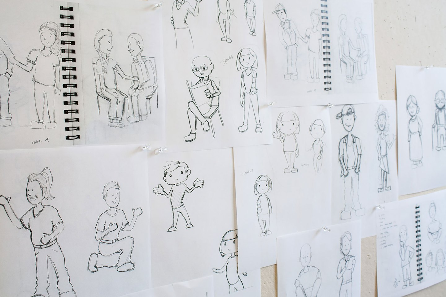Our team's sketching process for creating The Facing Project's character illustrations.