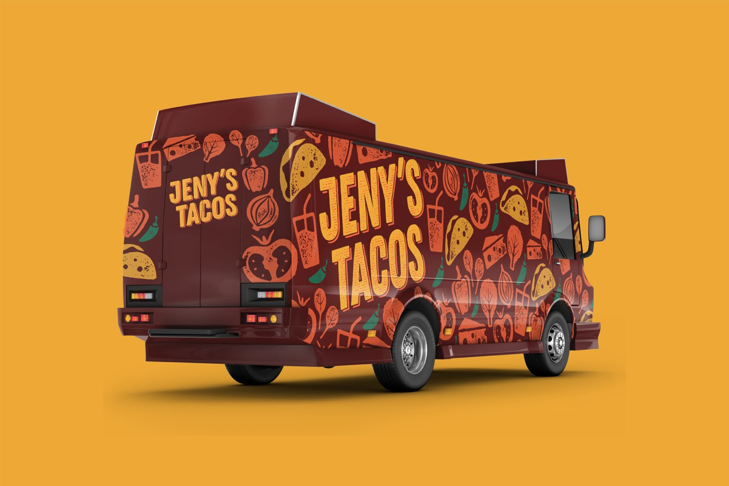 The Jeny's Tacos Food truck right side and rear design