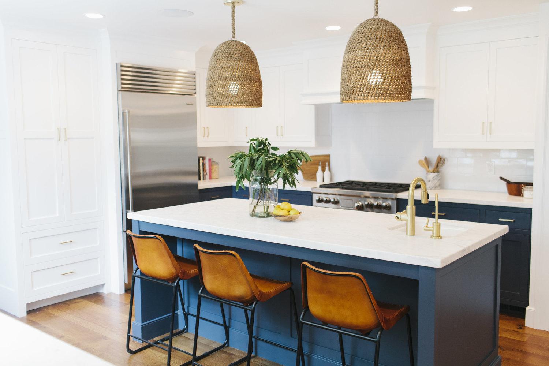Blue colourful kitchens island design colour