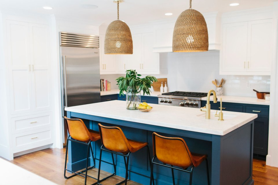 Blue colourful kitchens island design colour