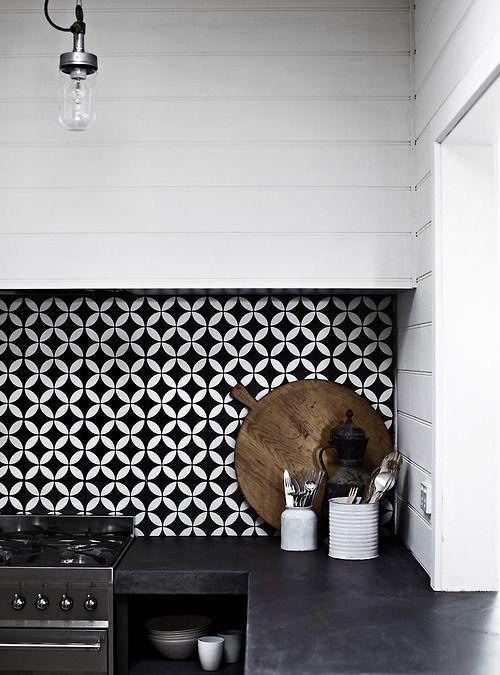 Monochrome colourful kitchens design