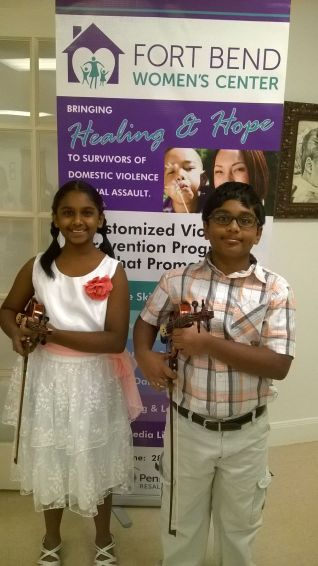 Manasa and Manjunath performed at an event for the Fort Bend Women's Shelter!