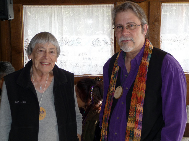 Ursula Le Guin stands next to Tony Vogt