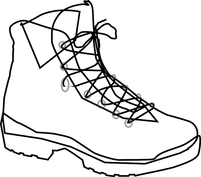 black and white computer line drawing of a laced boot
