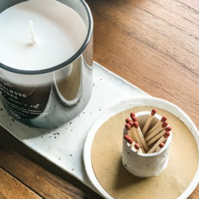 Air Dry Clay Candle + Match Holder Strike Plate