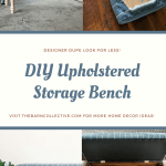 DIY Upholstered Storage Bench, turned legs, wooden storage bench, blue striped fabric, DIY bench, beginner woodworking project. #diybench #diystoragebench #upholsteredbench #diyupholsteredbench #beginnerwoodworkingproject #bedroombench #endofbedbench #bedroomfurniture #diyupholstery