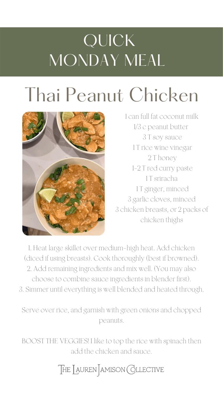Quick Monday Meal – Thai Peanut Chicken