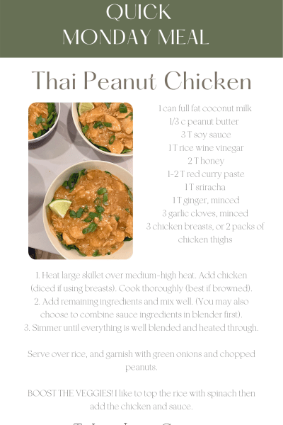Quick Monday Meal - Thai Peanut Chicken, easy dinner ideas, fast dinner ideas, peanut chicken