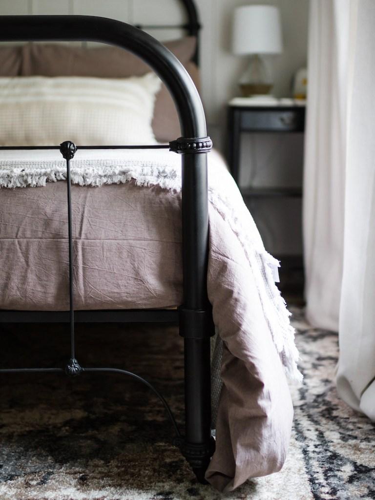 The Lauren Jamison Collective Girls Bedroom Reveal. Black metal bed, refinished vintage bed, girls bedroom decor, girls bedroom makeover.