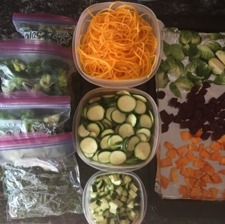 Frozen broccoli, chopped beat greens, diced and sliced zucchini, spiralized squash and veggies ready to roast