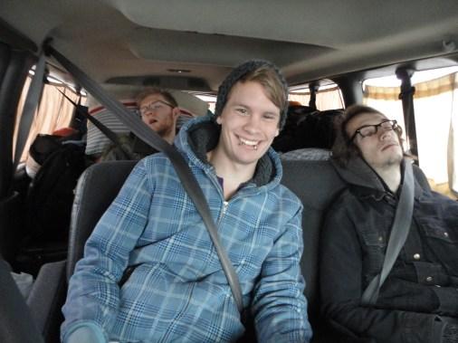 Aaron, Hammer, Mike in a pretty classic van scenario.