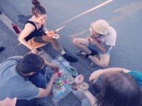 Sidewalk picnics at the start of another tour.