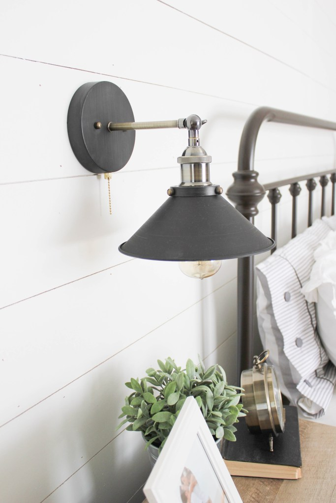 Farmhouse master bedroom industrial sconce lighting